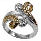 925 Solid Sterling Silver Ring - Two-Tone Band 21mm