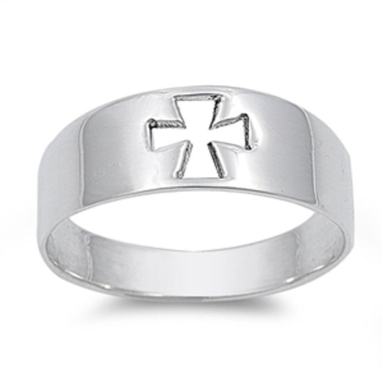 925 Solid Sterling Silver Ring - Cross Band 7mm