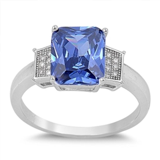 EMERALD CUT TANZANITE CZ VINTAGE STYLE Sterling Silver Engagement Ring Sterling