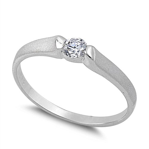 .25CT ROUND CZ PETITE PROMISE RING 925 Sterling Silver Sterling Silver