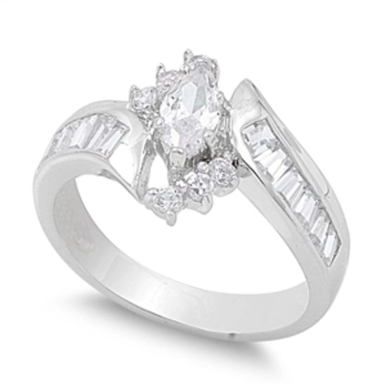 MARQUISE WITH SIDE BAGUETTES CZ BYPASS Sterling Silver Engagement Ring Sterling