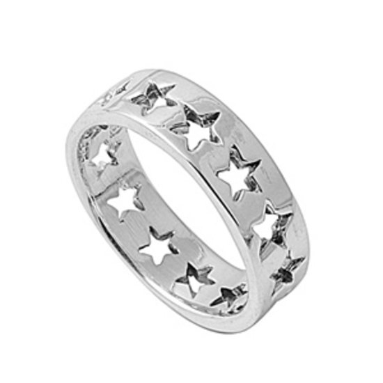 925 Solid Sterling Silver Ring - Star Band