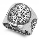 925 Solid Sterling Silver Ring - Aztec Calendar Band 19mm