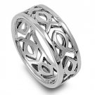 925 Solid Sterling Silver Ring - Christian Fish Band