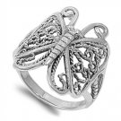 925 Solid Sterling Silver Ring - Butterfly Band 26mm
