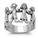 925 Solid Sterling Silver Ring - Boy And Girl Band 16mm