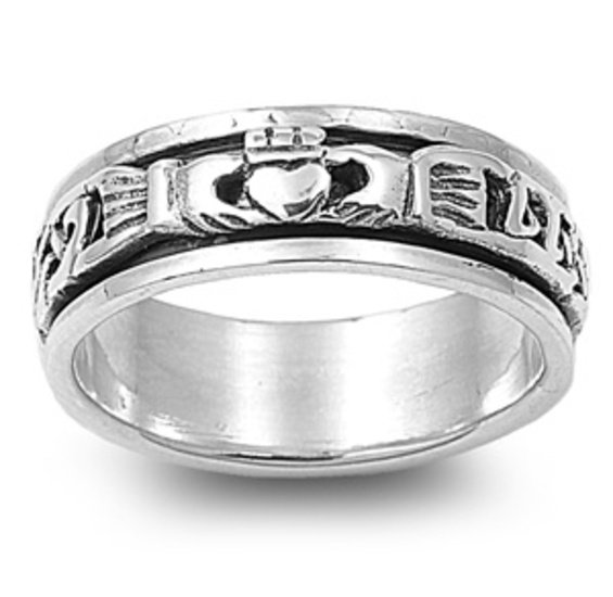 925 Solid Sterling Silver Ring - Spinner - Claddagh Band