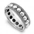 925 Solid Sterling Silver Ring - Bali Design Band 7mm