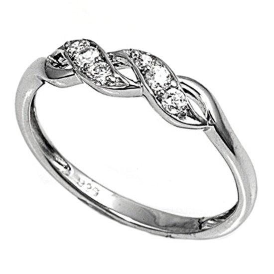 Braided Band Brilliant Cut Cubic Zirconia Wedding Band Ring Sterling Silver