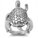 925 Solid Sterling Silver Ring - Turtle Band 26 mm