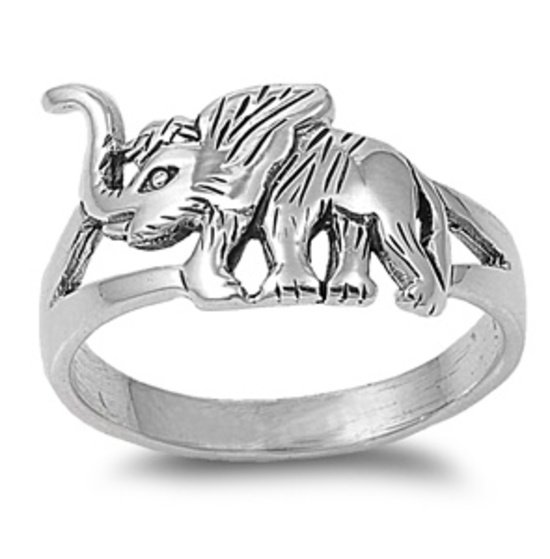 925 Solid Sterling Silver Ring - Elephant Band 13mm