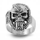925 Solid Sterling Silver Ring - Skull Band 27mm