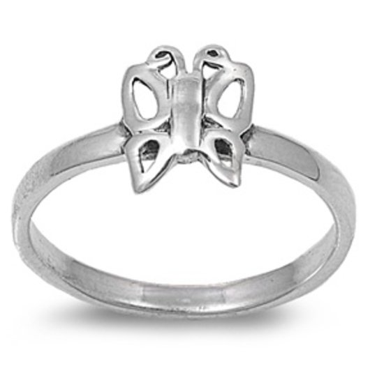 925 Solid Sterling Silver Ring  - Butterfly Band 10 mm