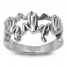 925 Solid Sterling Silver Ring - Frogs Band