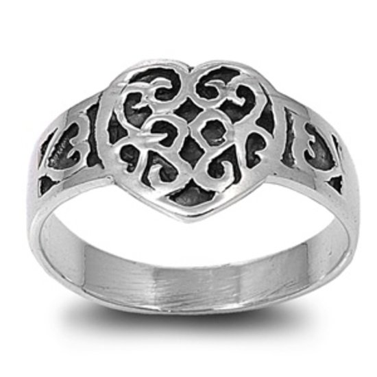 925 Solid Sterling Silver Ring - Heart And Flower Band 11mm