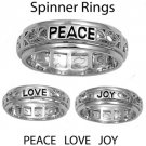 925 Solid Sterling Silver Ring - Spinner - Peace Love Joy Band