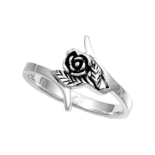925 Solid Sterling Silver Ring - Rose Band 15 mm
