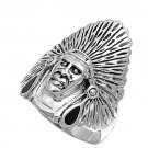 925 Solid Sterling Silver Ring - Indian'S Head Band 30 mm