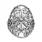 925 Solid Sterling Silver Ring - Plumeria Band 28 mm