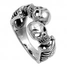 925 Solid Sterling Silver Ring - Skeleton Band 13 mm