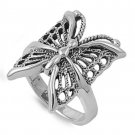925 Solid Sterling Silver Ring - Butterfly Band 21 mm