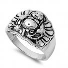 925 Solid Sterling Silver Ring - Buddha Band 15 mm