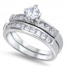 1/2CT ROUND WITH PRINCESS SIDES CZ WEDDING SET Sterling Silver Bridal Ring Brida