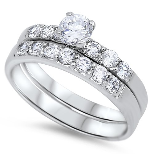 .75CT ROUND CUT CZ WEDDING RING Sterling Silver Two Piece Bridal Set Bridal Ster