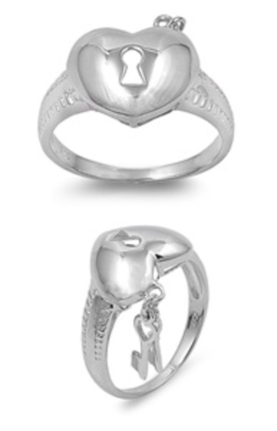 925 Solid Sterling Silver Ring - Heart & Key Band 13 mm