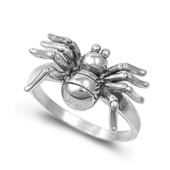 925 Solid Sterling Silver Ring - Spider Band 13mm