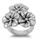 925 Solid Sterling Silver Ring - Plumeria Band 29mm