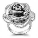 925 Solid Sterling Silver Ring - Rose Band 31mm