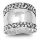 925 Solid Sterling Silver Ring - Bali Design Band 18mm