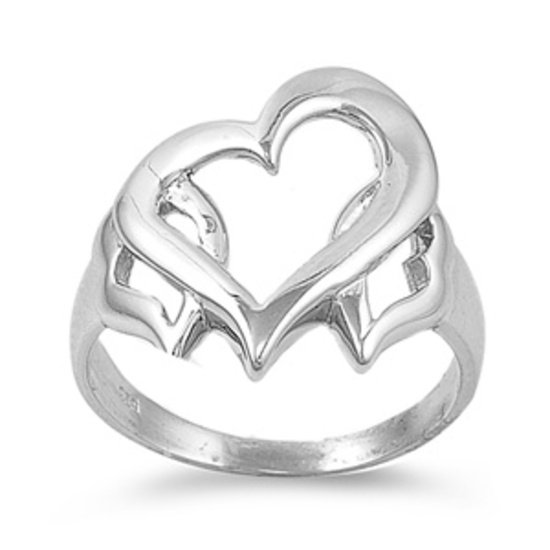 925 Solid Sterling Silver Ring - Heart Band 18 mm