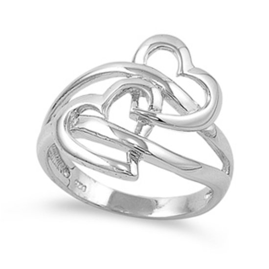 925 Solid Sterling Silver Ring-Heart Band 18 mm