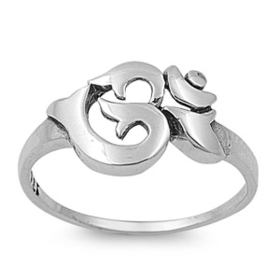 925 Solid Sterling PLAIN SILVER OM OHM AUM SYMBOL RING 925 Solid Sterling Silver