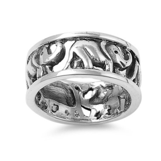 925 Solid Sterling Silver Ring - Elephant Band 9mm