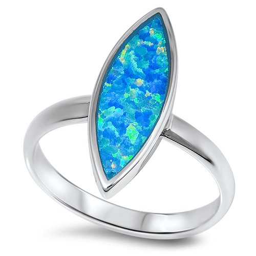 MARQUISE BLUE FIRE OPAL SOLITAIRE Solid Sterling Silver Ring Size 5-10