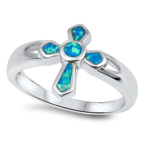 BLUE OPAL INLAY CROSS RING 925 Solid Sterling Silver Band Size 5-10