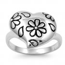 925 Solid Sterling Silver Ring - Heart Band 17.4 mm