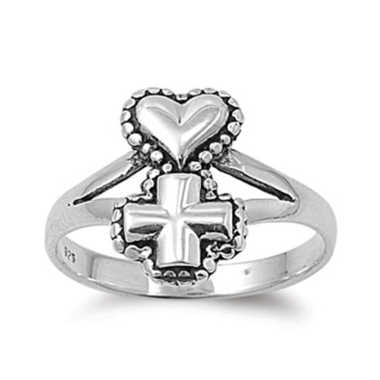 925 Solid Sterling Silver Ring - Cross and Heart Band 14 mm (0.57 inch)