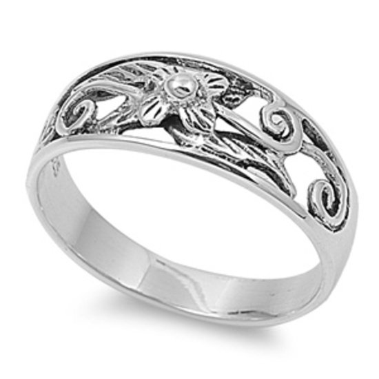 925 Solid Sterling Silver Ring - Plumeria Band 8mm (0.30 inch)