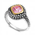 Designer Bali Cushion Cut Pink Cubic Zirconia Solitaire Ring Sterling Silver PIN