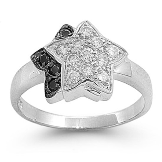 Star Shape Black and White Cubic Zirconia Silver Ring Sterling Silver BLACK CZ