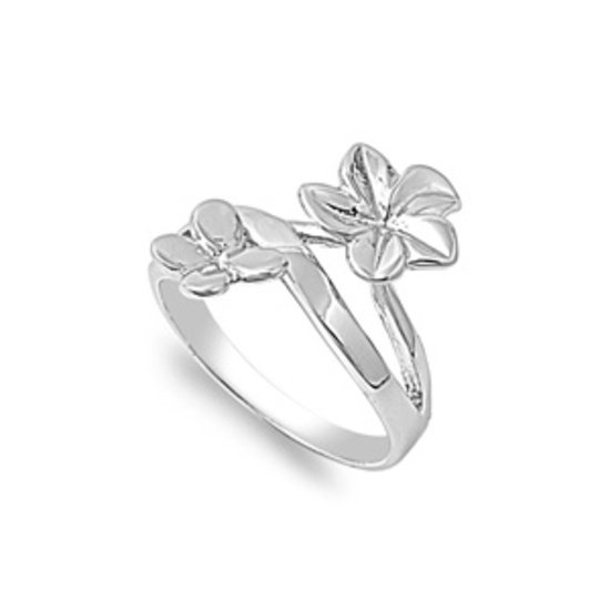 925 Solid Sterling Silver Ring - Butterfly & Flower Band 7 mm (0.30 inch)