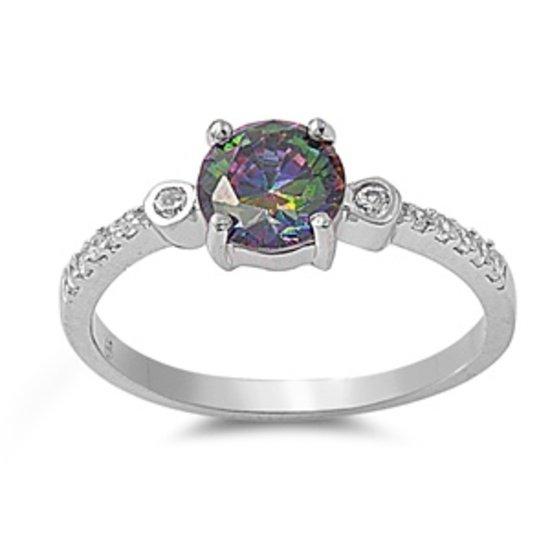 1CT Brilliant Cut Rainbow Topaz CZ Solitaire Ring Sterling Silver RAINBOW TOPAZ