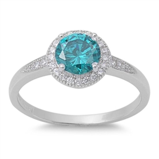 HALO SOLITAIRE Blue Topaz CZ Promise Engagement Ring .925 Sterling Silver Sterli