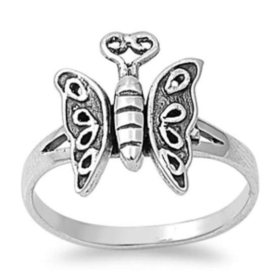 925 Solid Sterling Silver Ring - Butterfly Band 14 mm (0.58 inch)