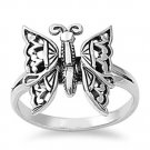 925 Solid Sterling Silver Ring - Butterfly Band 16 mm (0.62 inch)