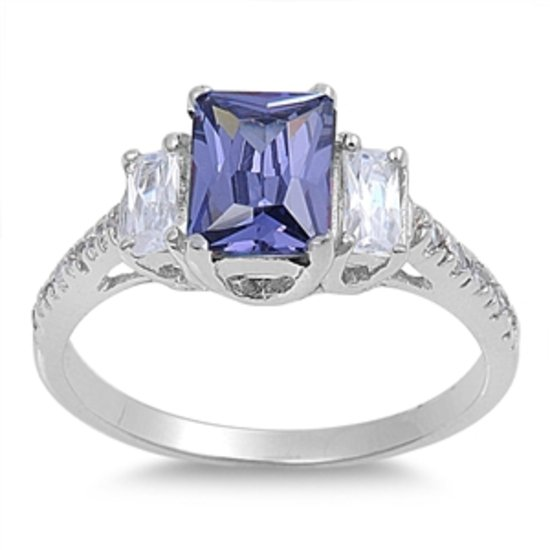 1.5 CT EMERALD CUT TANZANITE CZ THREE STONE .925 Sterling Silver Ring Sterling S